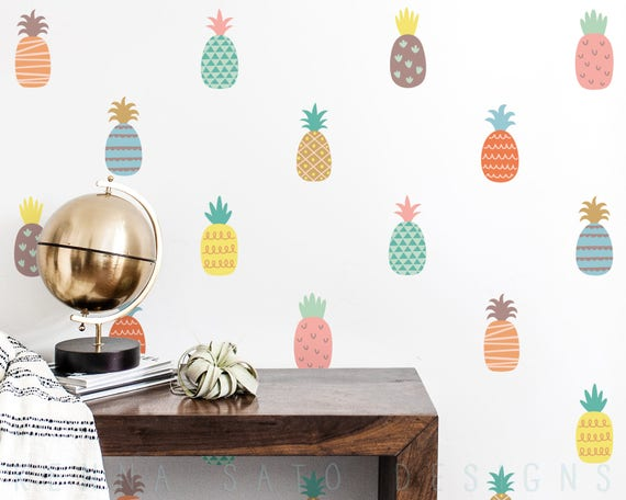 Pineapple Wall Decals - Reusable Decals, Wall Decor, Gift for Her, Kids Room, Pineapple, Pineapple Decor, Pineapple Wall Art, Baby Shower