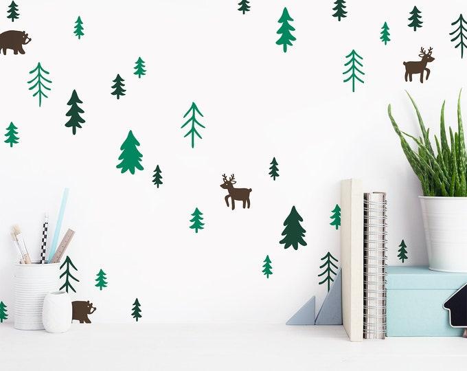 Tree Wall Decals - Woodland Nursery Decor, 3-Color Tree Wall Stickers, Pine Tree Wall Decals, Forest Animals Decals, Cute Woodland Stickers