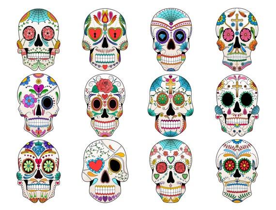sugar skull clip art set of 12 colorful sugar skulls png etsy