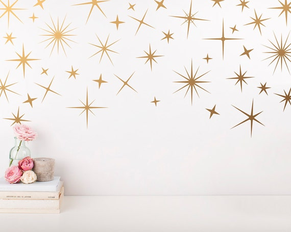 sparkle wall decals gold star decals nursery wall decals | etsy