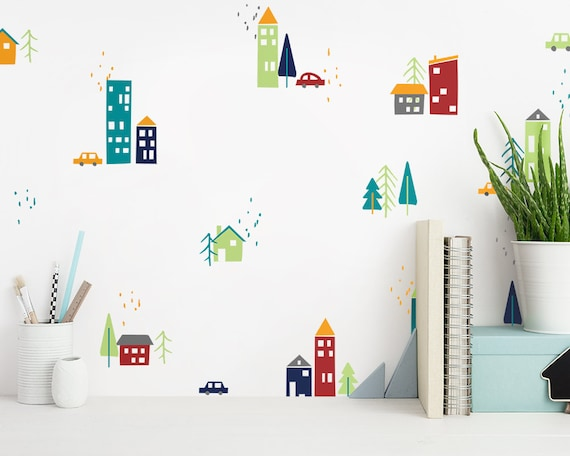 Colorful City Decals, Cute Town Decals, Nursery Decals, Modern Wall Decals, Unique Wall Decor, Trees Decals, Building Decals, and Car Decals