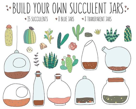 Succulent Clipart - Succulents in Jars Clip Art Set, Build Your Own Succulents, Digital Clipart, Hand Drawn Vector Design Elements