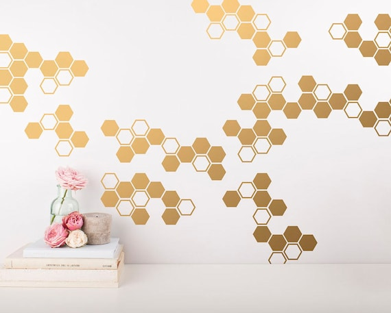 Small Honeycomb Wall Decals - Geometric Wall Decals, Gold Vinyl Decals, Honeycomb Decal, Vinyl Wall Decals, Living Room Decals, Wall Sticker