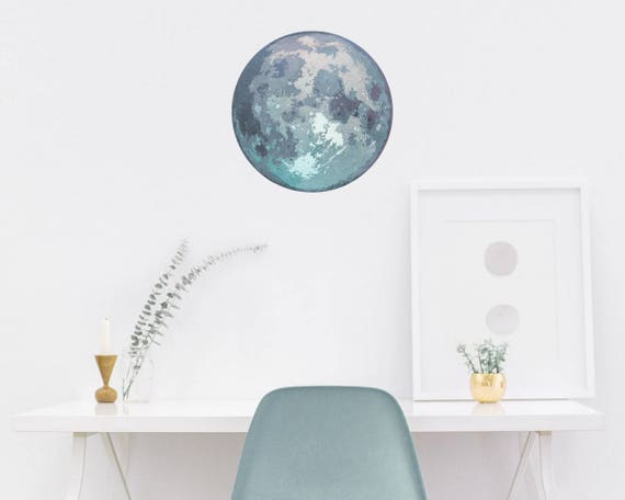 Watercolor Moon Wall Decal - Reusable Wall Decals, Moon Decal, Moon Decor, Wall Decor, Watercolor, Moon Art, Wall Art, Wall Stickers