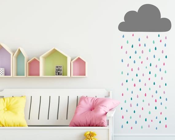 Rain Cloud Wall Decal - Cloud and Rainbow Raindrops Wall Decal, Vinyl Wall Decal, Cloud Wall Sticker, Raindrop Decal, Nursery Wall Decals