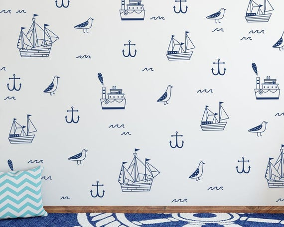 Nautical Wall Decals - Nautical Decals, Ship Decals, Cute Nautical Decor, Anchor Decal, Nursery Decals, Kids Room Wall Stickers