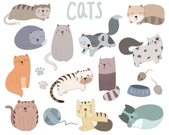 Cute Cat Clip Art - Set of 19 Vector, PNG, & JPG Files - Hand Drawn Unique Kitty Clipart