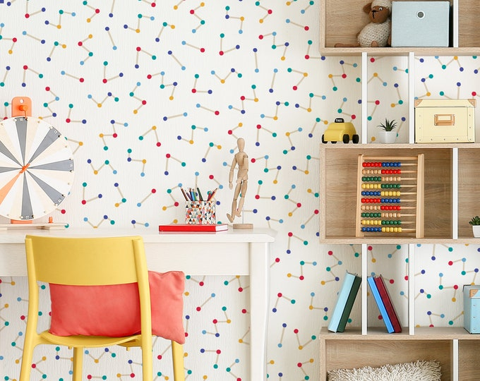 Colorful Molecule Wall Decals - Removable Wall Stickers, Science Wall Art, Playroom Wall Decor, Kids Room Decor