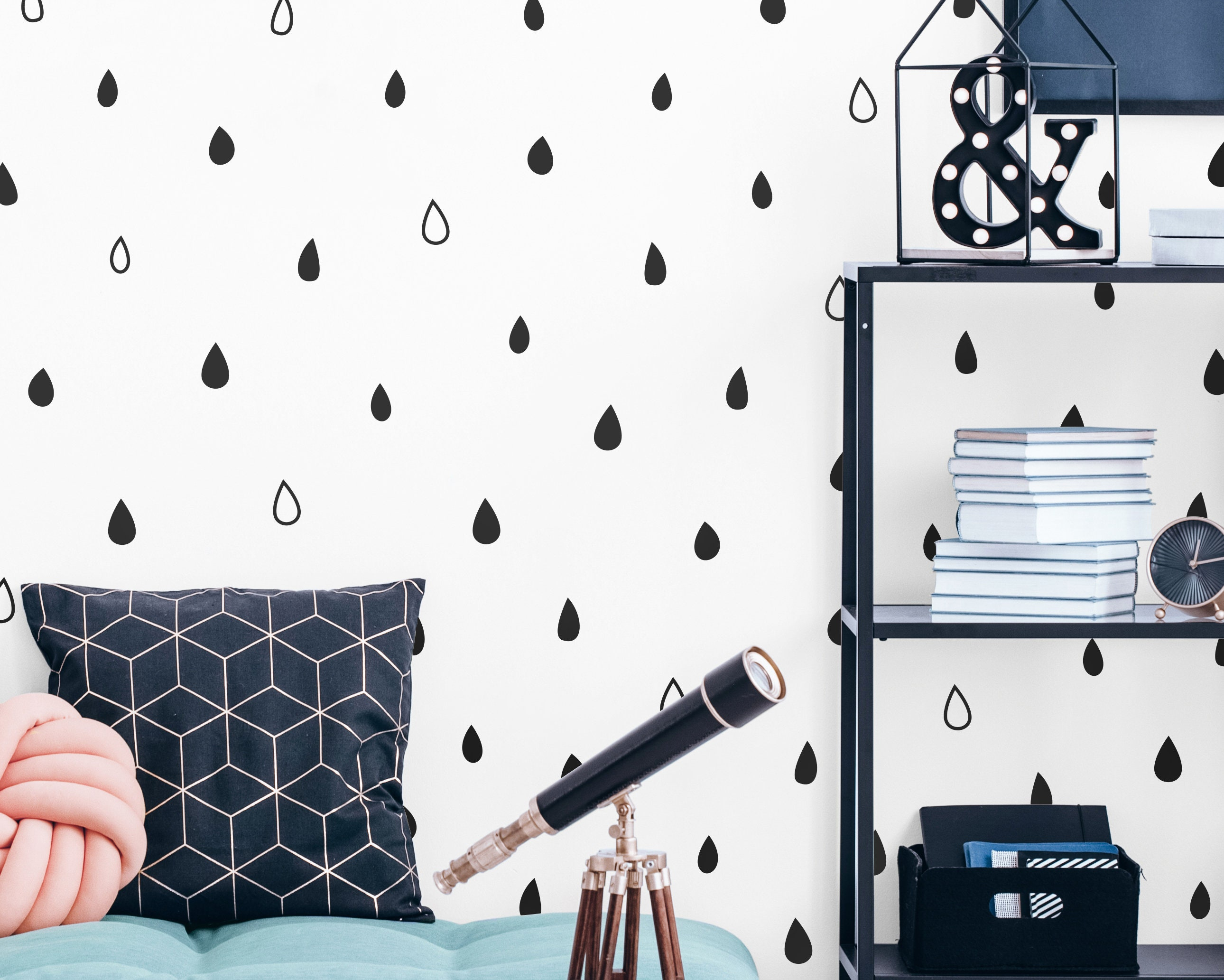 Mint and Grey Raindrop Wall Sticker Decals Blue