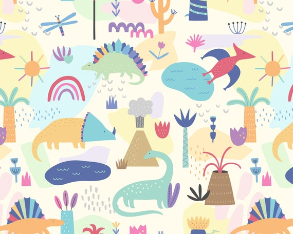 Dinosaur Wallpaper - Peel and Stick Removable Wallpaper, Rainbow Decor, Nursery Wall Art, Dinosaur Decor, Dinosaur Art for Kids Bedroom