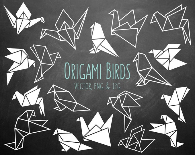 Geometric Origami Birds Clipart - 18 Black & White PNG, JPG and Vector Files - Unique Clip Art Collection