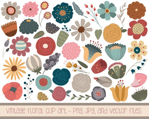 Vintage Floral Clip Art - Set of 46 Hand Drawn PNG, JPG, and Vector Files - Cute Flowers and Design Elements Clipart Digital Download