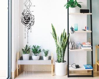 Geometric Rose & Arrows Wall Decal - Unique Vinyl Wall Decal, Rose Decal, Bedroom Decal, Floral Wall Decor
