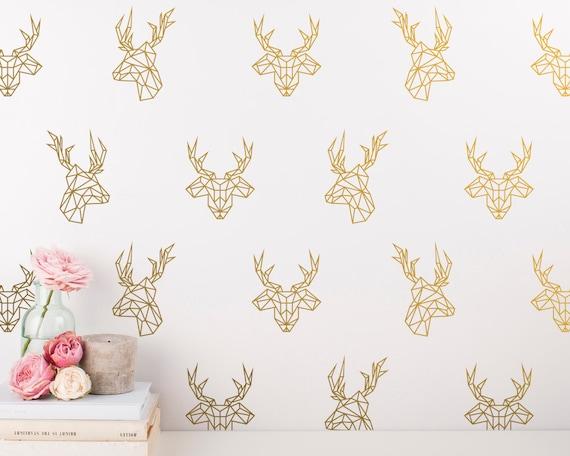 Geometric Deer Decals - 24 Unique Vinyl Wall Decals, Stag Decal, Gold Wall Decal, Geometric Decor, Dorm Decor, Bedroom Decals, Wall Stickers