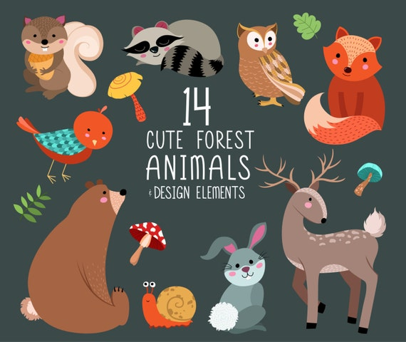Cute Forest Animals Clip Art - Digital Woodland Design Elements - Set of 14 300 DPI X-Large Vector, PNG and JPG Files