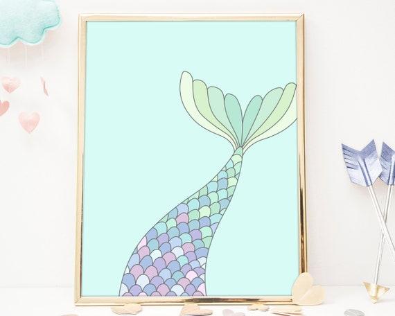 Mermaid Tail Art Print - Nursery Art, Mermaid Wall Art, Wall Decor, Kids Art Print, Kids Bedroom Decor