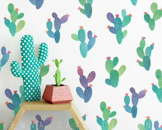 Watercolor Cactus Decals - Reusable Wall Decals, Wall Decor, Cactus Wall Decals, Cactus Wall Art, Cactus Decor, Nursery Decor, Kids Room