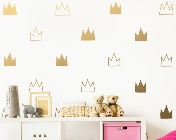 Crown Wall Decals - Kids Room Decals, Nursery Wall Decals, Gold Wall Stickers, Removable Wall Decals, Vinyl Decals