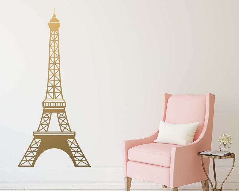 eiffel tower decal large wall decal gold decal paris   etsy