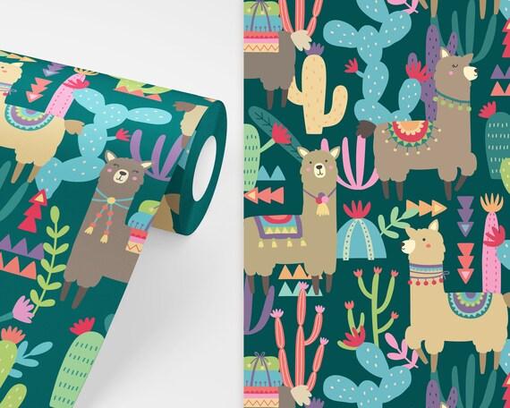 Alpaca Wallpaper - Peel and Stick Removable Wallpaper, Kids Room Wall Decor, Llama Art, Nursery Wallpaper, Cactus Wallpaper, Cactus Decor