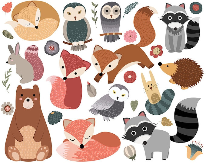 Woodland Critters Clip Art - Set of 30 300 DPI PNG, JPG, and Vector Files - Cute Forest Animals Clipart Digital Download