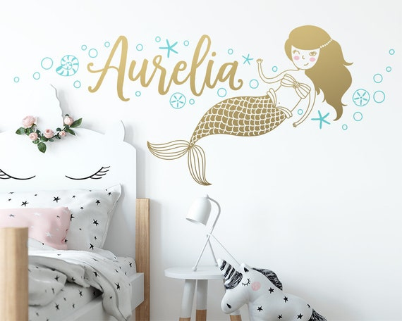Custom Name Vinyl Decal, Personalized Name Vinyl Decal, Personalized Kids Name, Custom Kids Name, Custom Nursery Decal, Mermaid Wall Decal