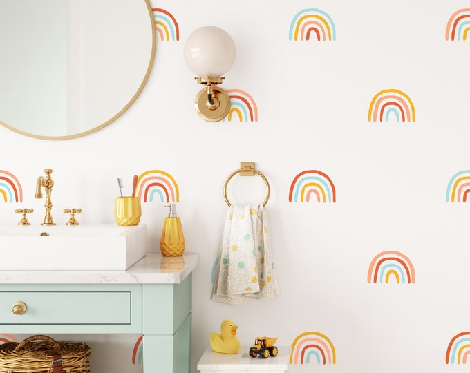 Rainbow Wall Decals - Nursery Wall Stickers, Kids Room Wall Art, Boho Nursery Decor