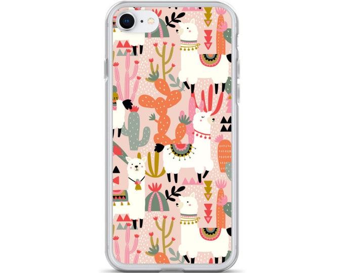 iPhone Case - Alpaca and Cactus Phone Case in Pink