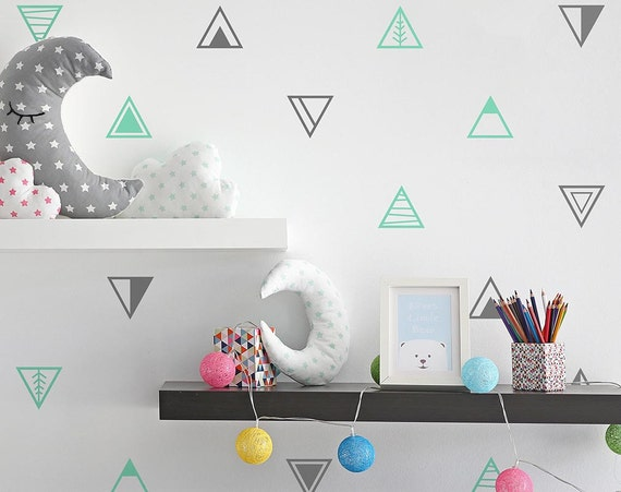 Geometric Triangle Wall Decals - Multi-Colored Wall Decals, Nursery Decals, Unique Geometric Wall Decor