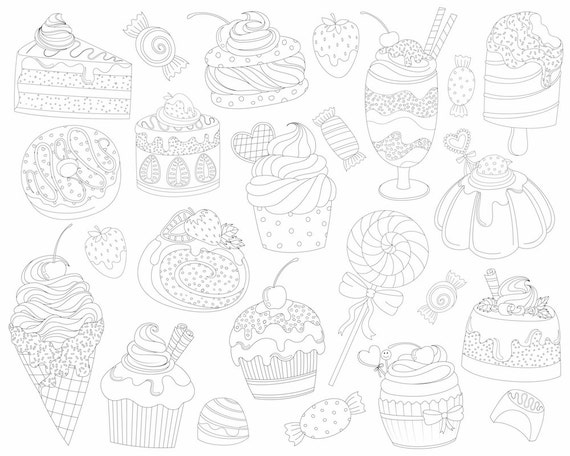 Dessert Doodles Clipart - 21 Vector, PNG, & JPG Files - Hand Drawn Cute Treats, Sweets, and Candy Clip Art Set