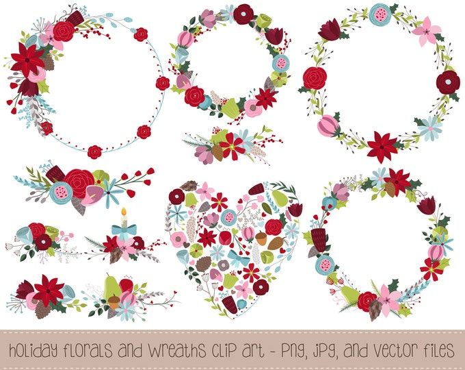Winter Florals and Holiday Wreaths Clipart - 11 Hand Drawn PNG, JPG, and Vector Files - Floral Design Elements Digital Clip Art Set