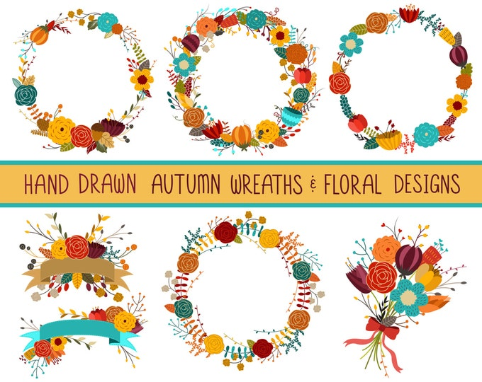 Autumn Wreaths Fall Clip Art - Hand Drawn Floral Design Elements - 300 DPI PNG, JPG, and Vector Files