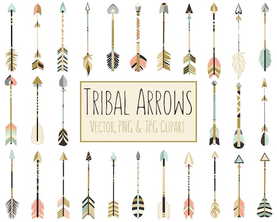 Tribal Arrows Boho Clipart - 28 300 DPI Vector, PNG & JPG Files - Unique Arrow Clip Art Set in Coral, Navy, Mint and Gold