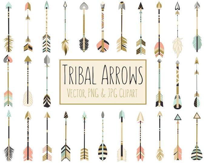Tribal Arrows Boho Clipart - 28 300 DPI Vector, PNG & JPG Files - Unique Arrow Clip Art Set in Coral, Navy, Mint and Gold