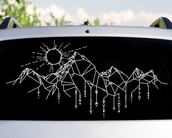 Geometric Mountains Car Decal - Car Decals, Window Decal, Car Sticker, Adventure Car Decal, Mountains Car Decal, Travel Decal, Explore Decal