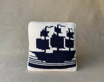 """Ship Knit Pillow, Nautical Graphic, Cushie, Throw Pillow, Bold, Playful, Homespun, Gift, 11x11"""""""