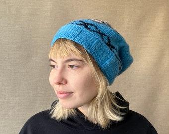 "Skull Adult Knit Hat, Blue & Grey, Nautical Graphic, Bold, Playful, Soft, Homespun, X-Large, 11.5x21"""