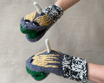 """Sea Monster Adult Hand Knit Mittens, Wool, Hand Puppet, Snake, Dragon, Animal, Fun, Gift 8x4"""""""