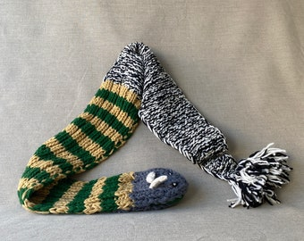 """Sea Monster Hand Knit Scarf, Wool, Green Stripe, Puppet, Snake, Dragon, Animal, Gender Neutral, All Ages, Gift, 72x7.5"""""""
