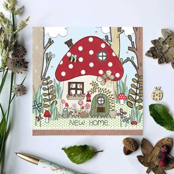 New Home Card Mushroom House Personalised Handmade Any Wording