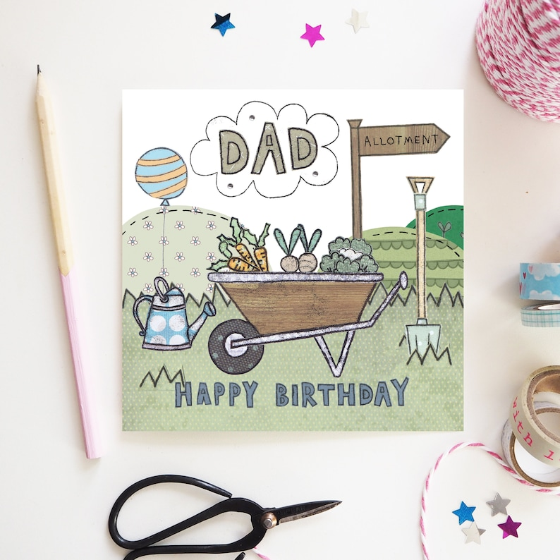 Dad Birthday Happy Card Garden Gardeners My Hero Allotment Wheelbarrow Design Hand Illustration And Printed UK
