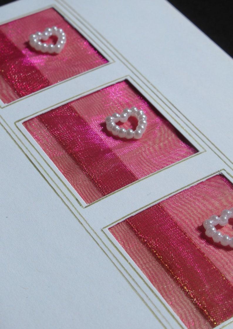 Wedding  Engagement  Congratulations  Birthday Hearts Greeting Card Pink /& Gold