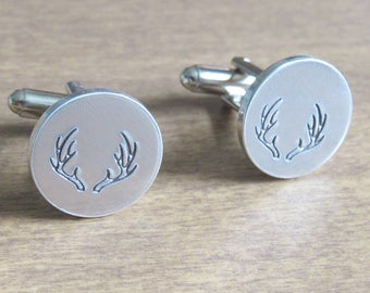 Hunting Gifts for Men, Antler Cufflinks, Hunting Gifts, Groomsman Gift Ideas, Birthday Gift, Custom Cufflinks, Personalized Cuff Links