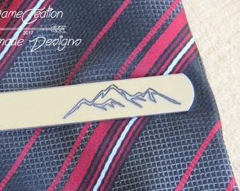 Mountain Tie Clip, Mountain Tie Bar, Custom Tie Clip, Groom Tie Clip, Wedding Tie Clip, Personalized Tie Bar, Groomsmen Gift, Mountain Range