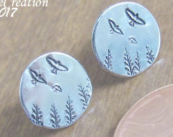Nature Earrings, Silver Stud Earrings, Gift for Women, Tiny Stud Earrings, Nature Lover Gift, Nature Jewelry, Forest Jewelry, Gift for Her