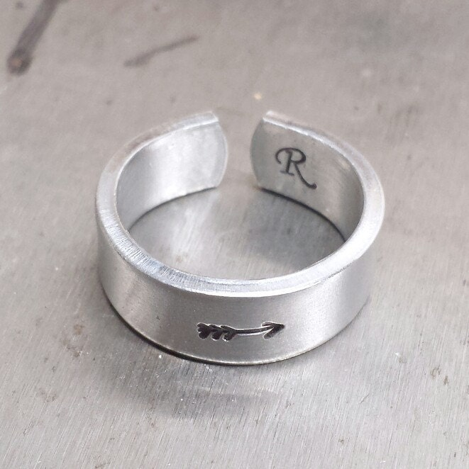 Minimalist Ring Silver Ring Personalized Ring Engraved Etsy