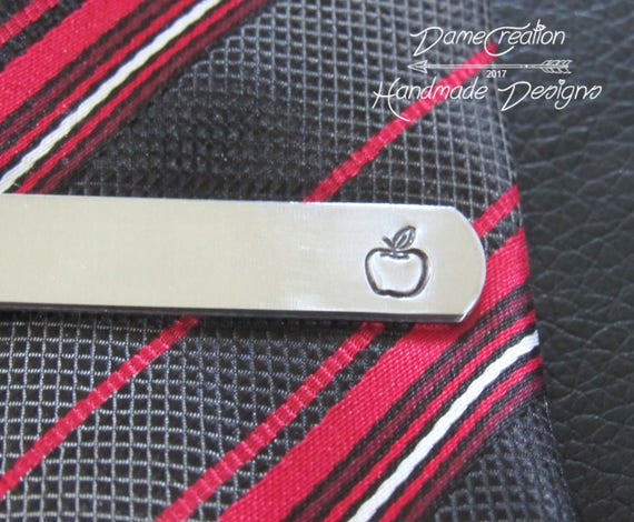 Teacher Tie Clip Male Teacher Teacher Graduation Apple Tie Etsy