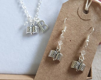 Book earrings, book necklace, book jewellery, personalised book gift, book charm, book jewellery, reading gift, book lover gift, reader gift