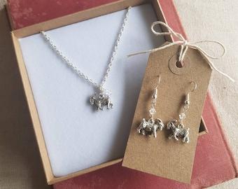Goat earrings, Goat necklace, Goat jewellery set, goat jewelry, goat charm, farmer gift, homesteader gift, goat gift
