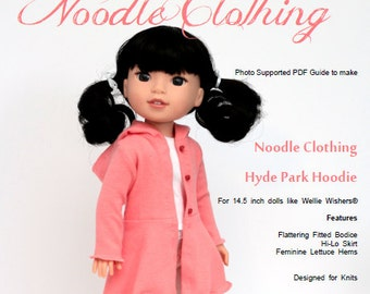 Wellie Wishers Clothing PDF Pattern.  Hyde Park Hoodie for 14.5 inch dolls.
